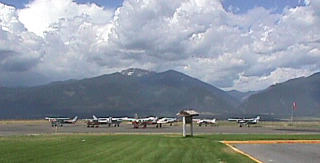 A shot of the parking area at Stevensville Airport